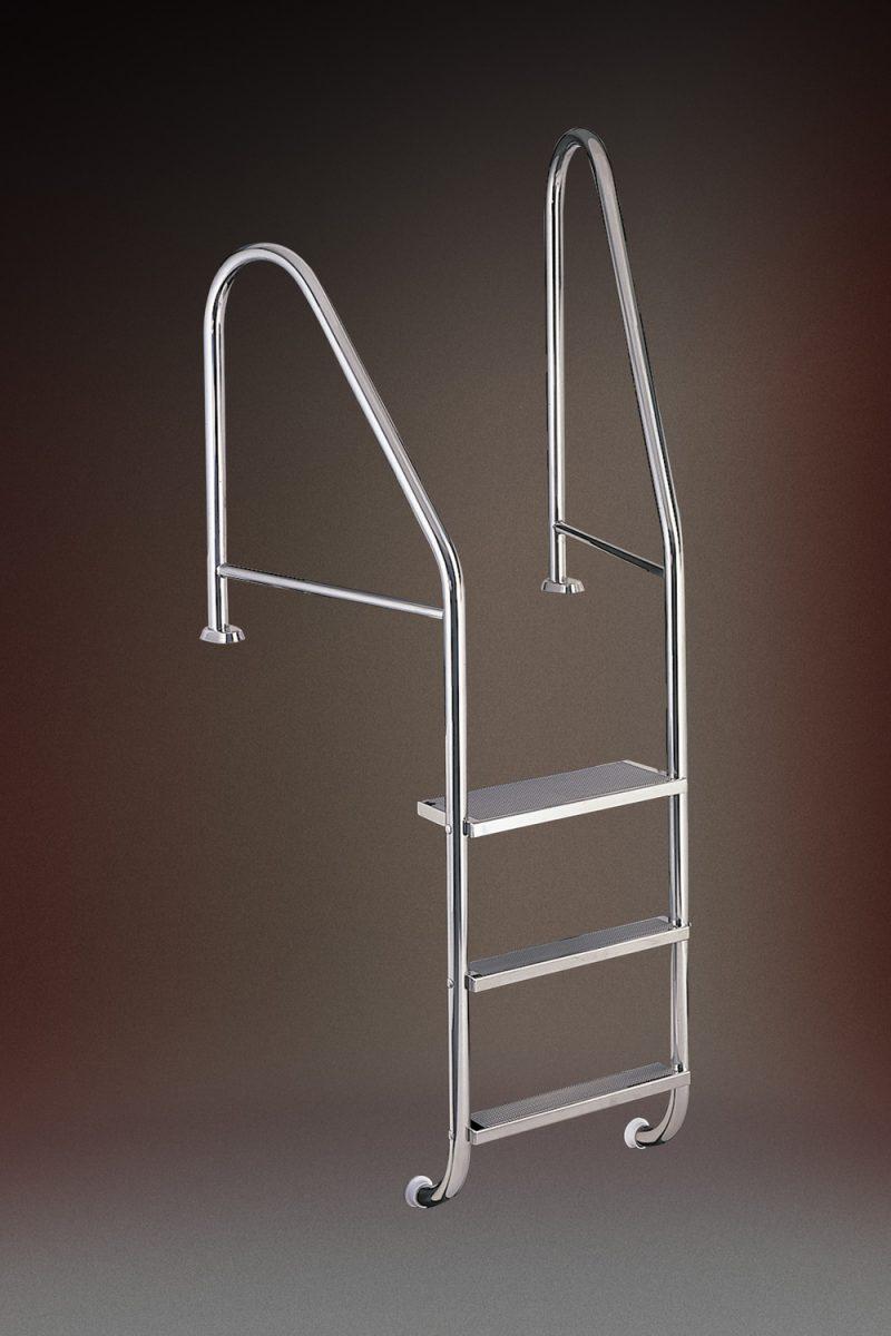 Лестница MARINA 07, 3-ступени, (компл. монт. в бетон с усилителями поручней), AISI 316
