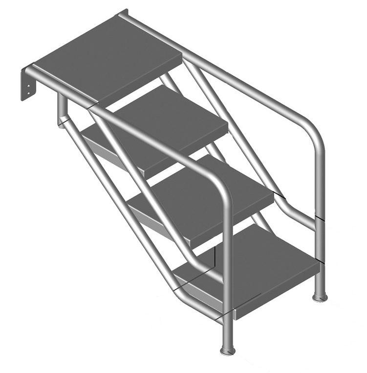 Лестница MIAMI 08.3, подв. размещ., 4-ст., ст. нерж. сталь 500х360 мм (фланц. креп.), AISI 316