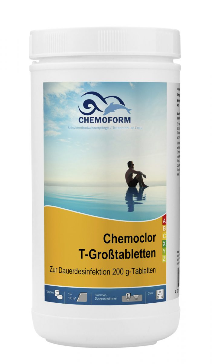 Медленный хлор в таблетках для длительной дезинфекции воды в бассейне Кемохлор Т (200 г)