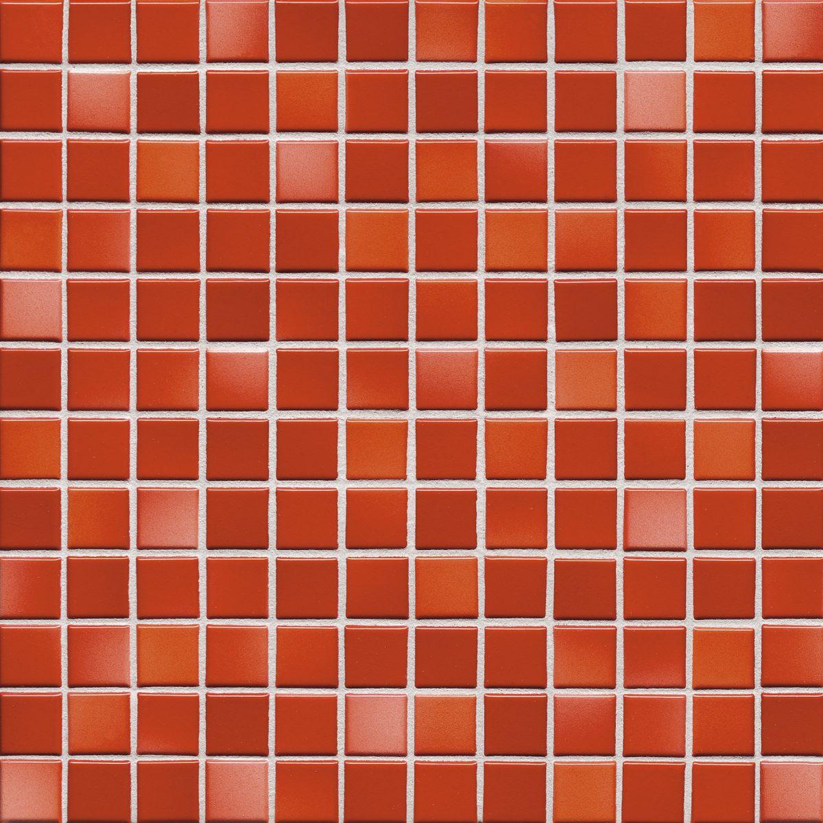 Мозаика серия Fresh 2,4 X 2,4 см Coral Red Mix Glossy (глазурованная)