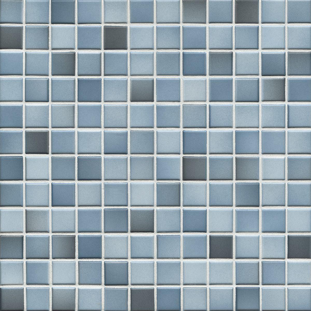 Мозаика серия Fresh 2,4 X 2,4 см Denim Blue Mix Glossy (глазурованная)