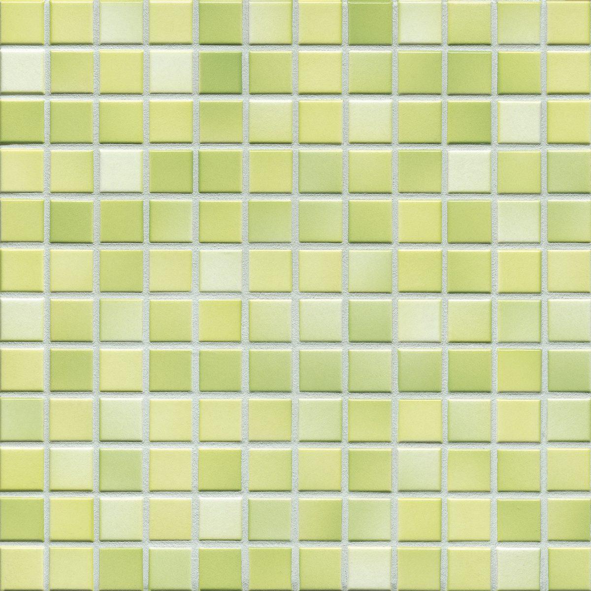 Мозаика серия Fresh 2,4 X 2,4 см Lime Green Mix Glossy (глазурованная)