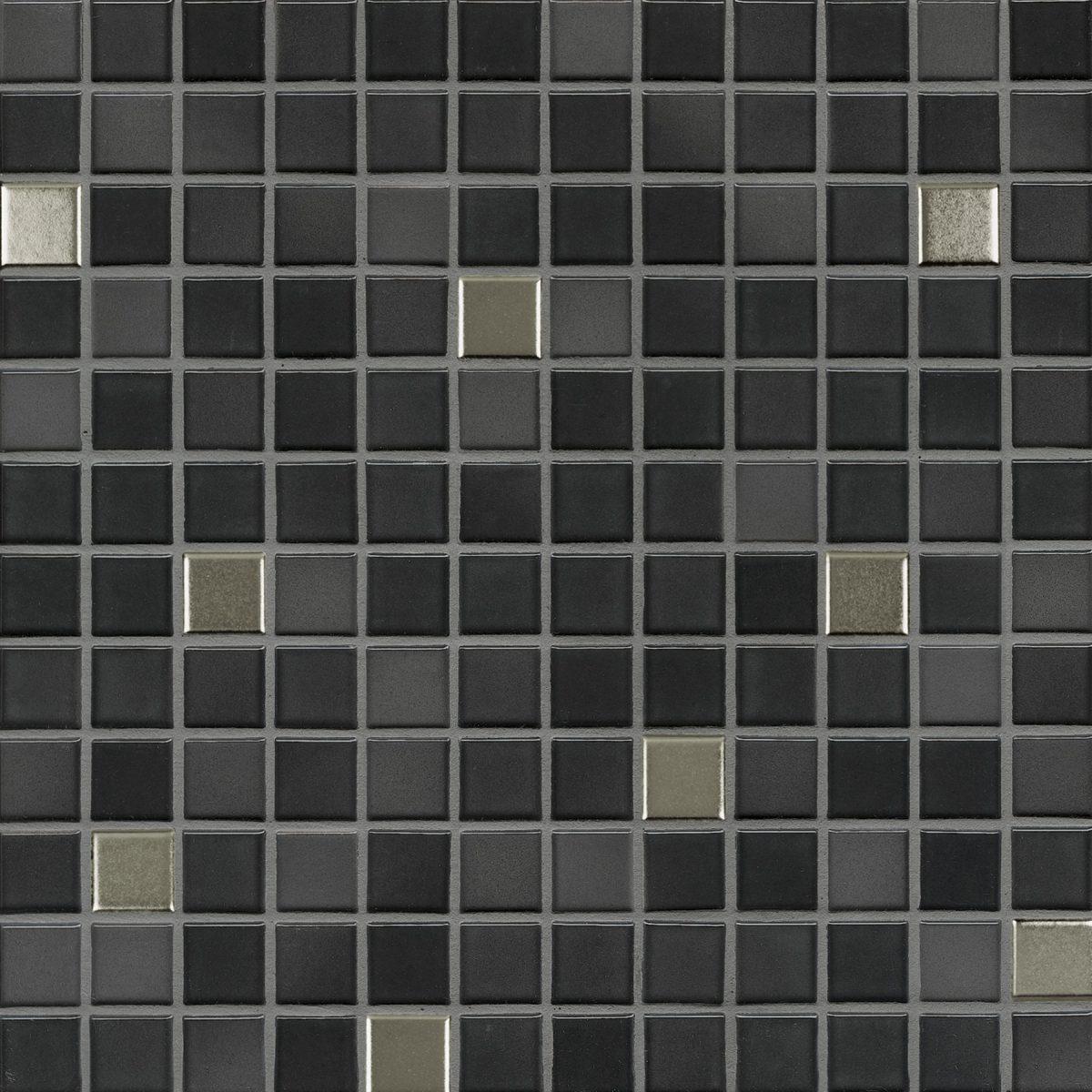Мозаика серия Fresh 2,4 X 2,4 см Midnight Black Mix Metal Glossy (глазурованная)