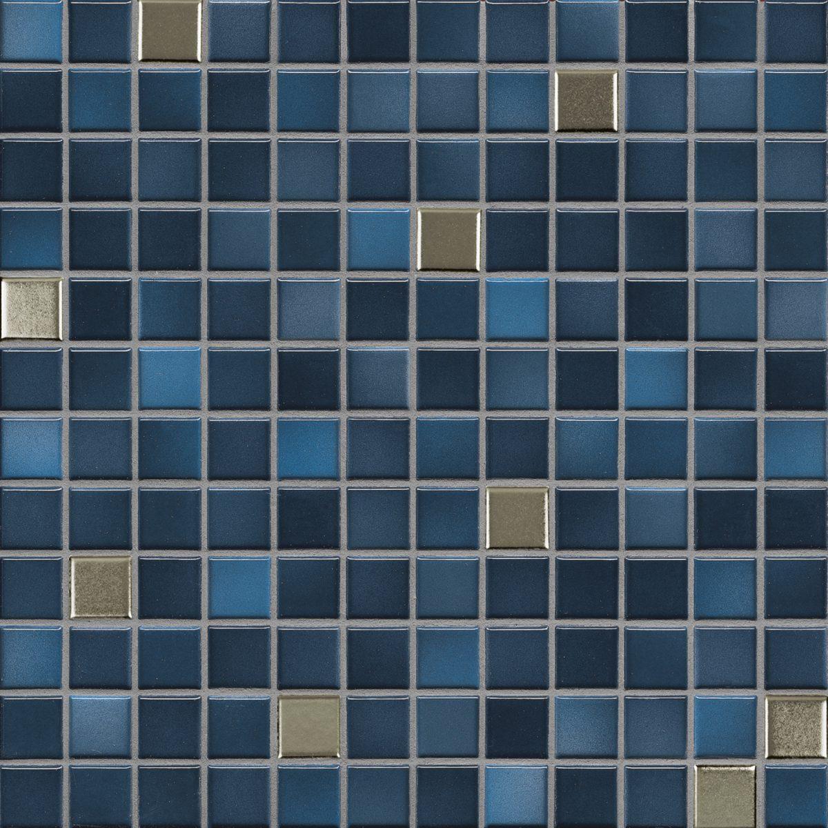 Мозаика серия Fresh 2,4 X 2,4 см Midnight Blue Mix Metal Glossy (глазурованная)
