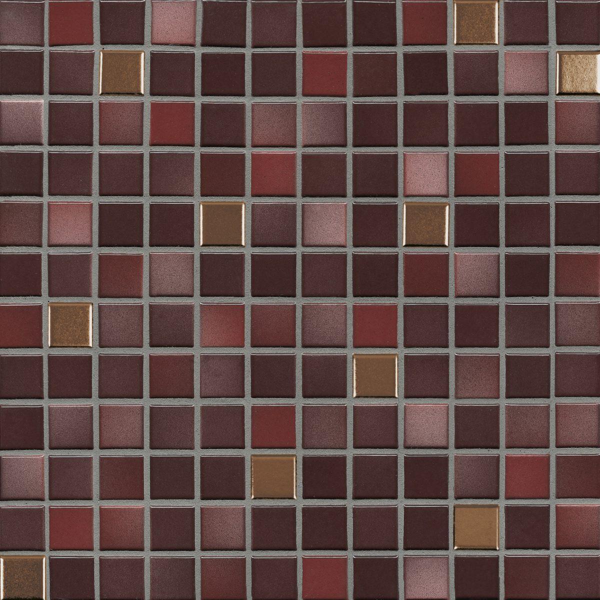 Мозаика серия Fresh 2,4 X 2,4 см Mystic Red Mix Metal Glossy (глазурованная)