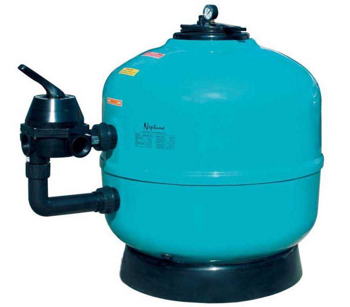 Песочный фильтр Neptun, O 950 мм, 34 м3/ч, клапан сбоку, фильтровальная звезда