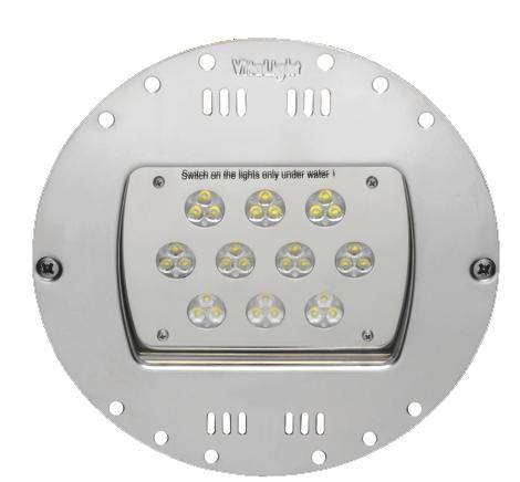 Подводный светодиодный прожектор Power Led 2.0, 30 Led, 24 В, RGB, O230мм, монтаж в дно стену