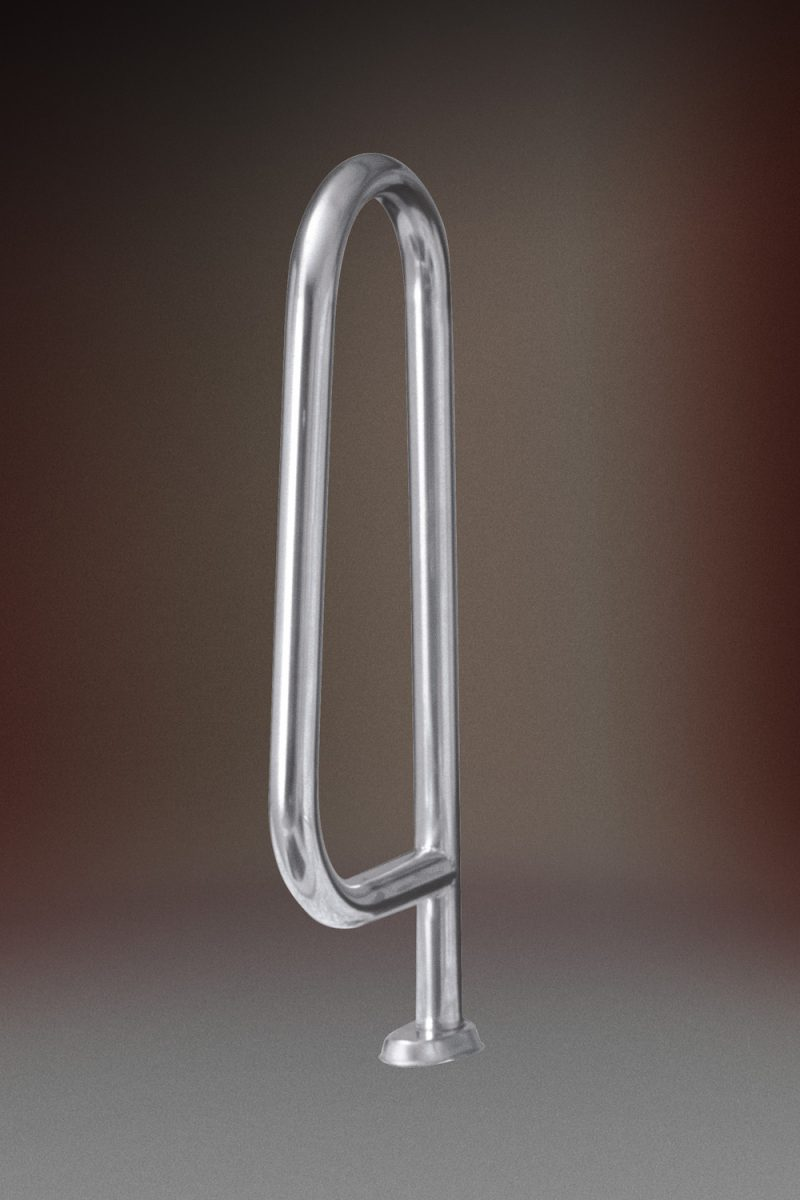 Поручень Тип A 16.1, H=750мм, фланцевое креп. + закл. в бетон, с накладками, AISI 316