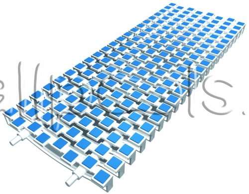 Решетка переливная SCACCO прям.уч., шир. 150 мм, выс. 25 мм, дл. 500 мм, цвет-бело-синий