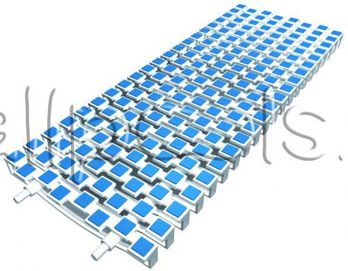 Решетка переливная SCACCO прям.уч., шир. 200 мм, выс. 20 мм, дл. 500 мм, цвет-бело-синий
