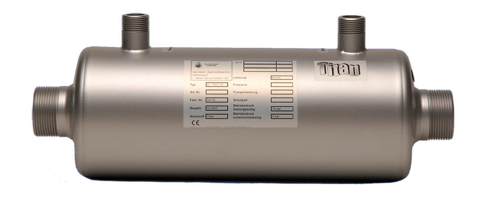 Теплообменник для бассейнов TWT 93, 105 кВт (при T=90°С)
