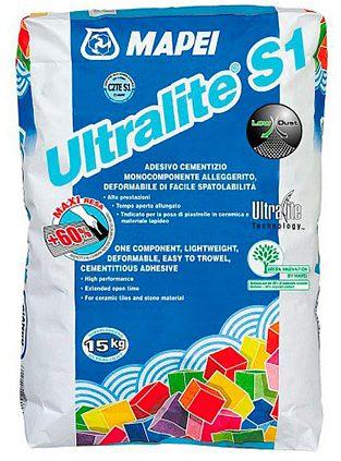 ULTRALITE S1, серый деформ. облегчен. цем. клей с снижен. пылящ. способностью, 15 кг
