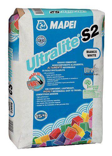 ULTRALITE S2, белый высокодеформ. облегчен. цем. клей с снижен. пылящ. способностью, 15 кг
