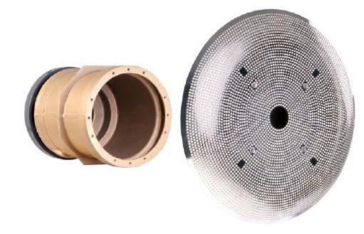 Устройство водозабора DN 100 из бронзы, вых. — DIN ПВХ фланец , с накл. из нерж.стали 316L ? 485 мм