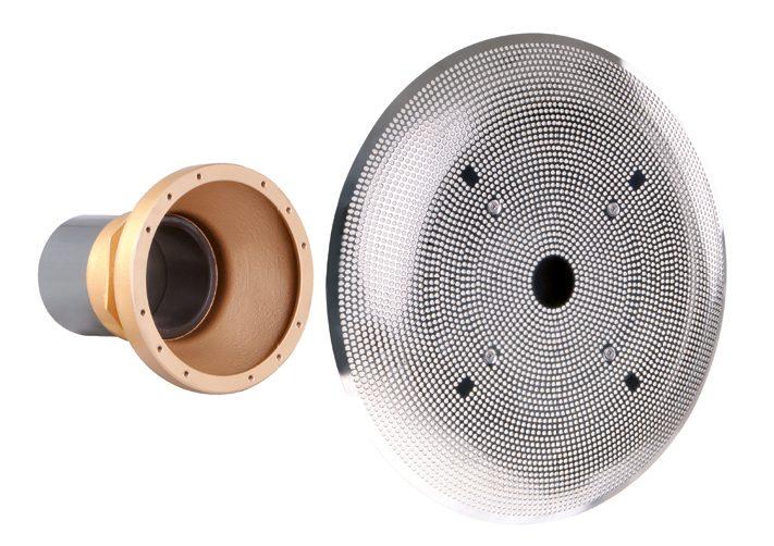 Устройство водозабора DN 100 из бронзы, вых. под клеевую муфту , с накл. из нерж.стали 316L ? 485 мм