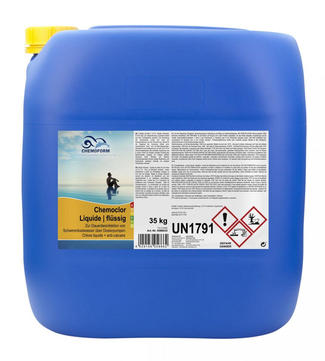 Жидкий стабилизированный хлор для дозирующего насоса Кемохлор, 35 кг