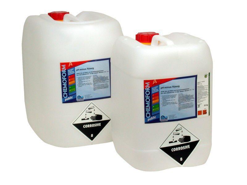 Жидкое средство для понижения уровня PH воды в бассейне рН Минус, 35 кг