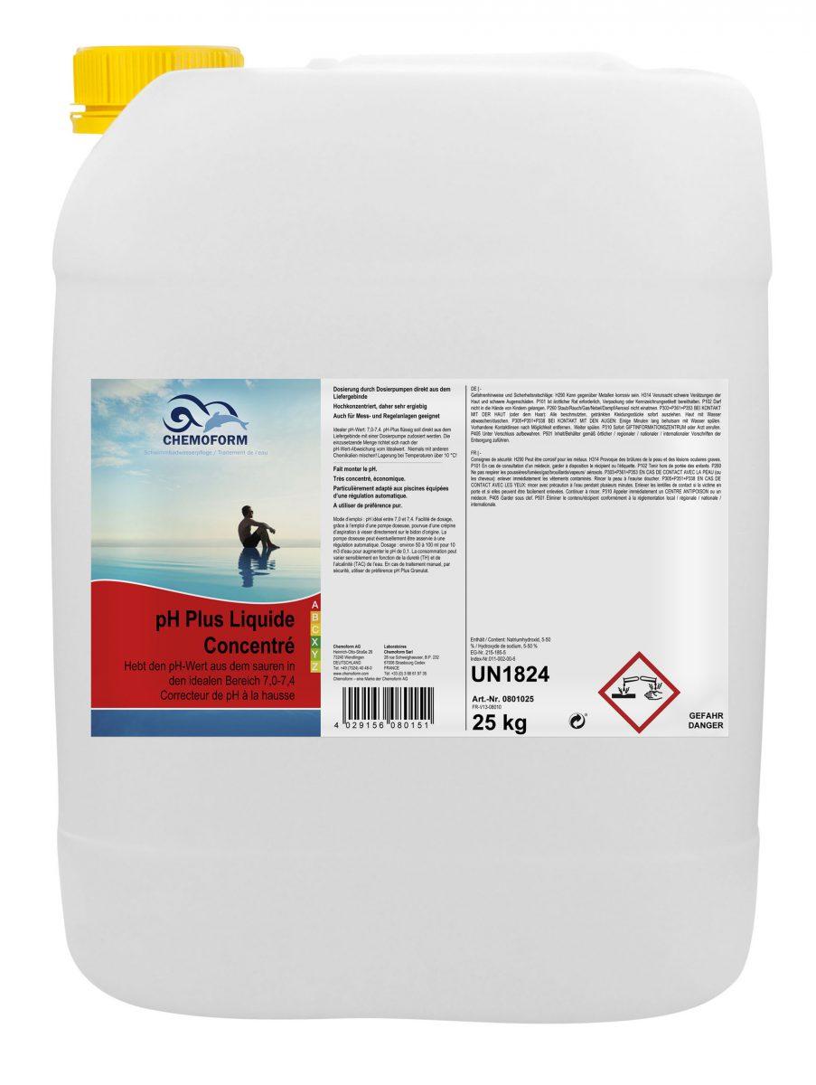 Жидкое средство для повышения уровня PH воды в бассейне рН Плюс, 25 л